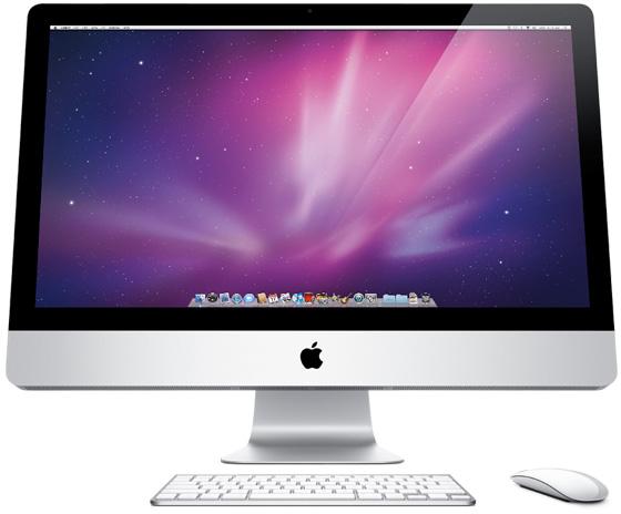 iMac visto de baixo, com teclado e Magic Mouse