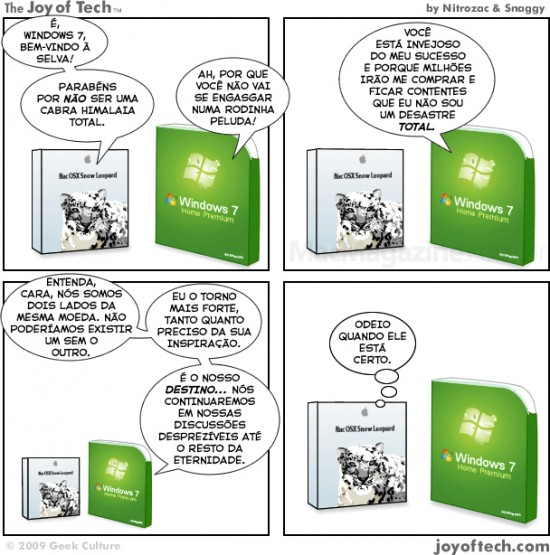 Joy of Tech - Snow Leopard encontra o Windows 7