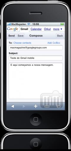 Caixa de texto no Gmail mobile (iPhone)
