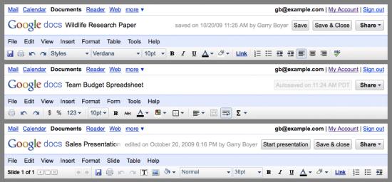 Interfaces do Google Docs