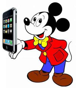 Disney e Mickey Mouse com um iPhone