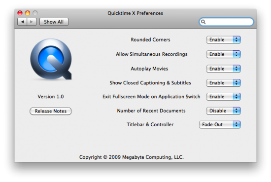 QuickTime Player X Preference Pane