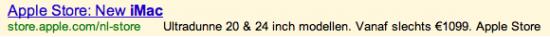 """O iMac novo em folha. Modelos ultrafinos de 20 e 24 polegadas. A partir de apenas 1099 euros. Apple Store"""""""