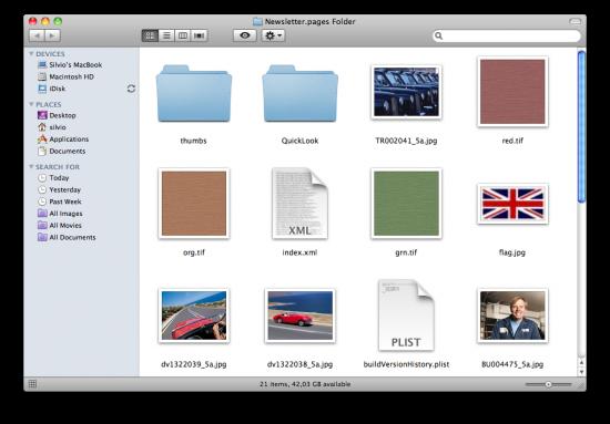 Alternativas de visualização de documentos do iWork