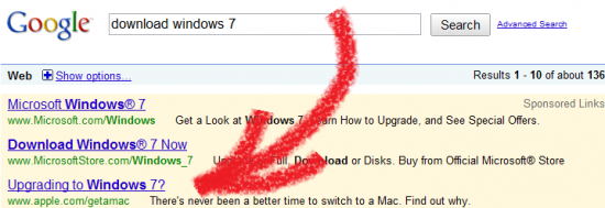 Apple Get a Mac - Windows 7 no Google