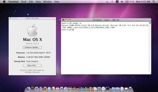 Mac OS X 10.6.2 em Netbook Atom