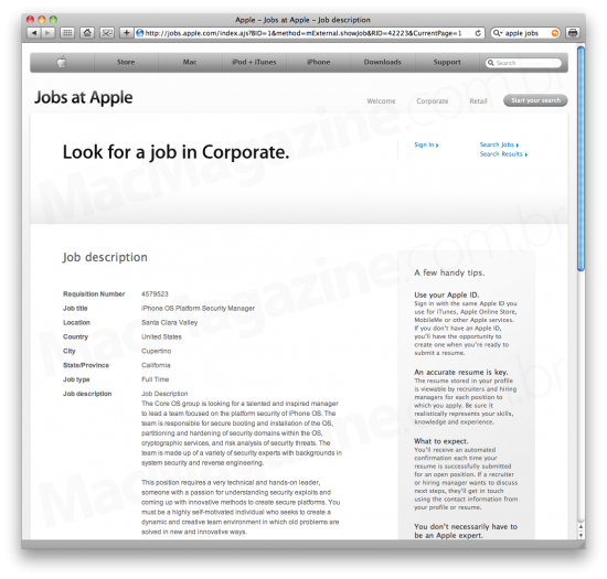 Apple Jobs jailbreak expert