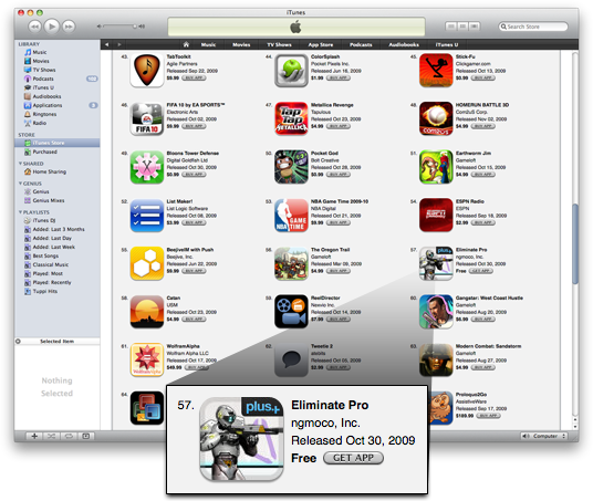 Eliminate Pro no Top Grossing da App Store
