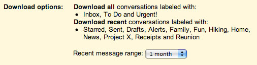 Offline options do Gmail Labs