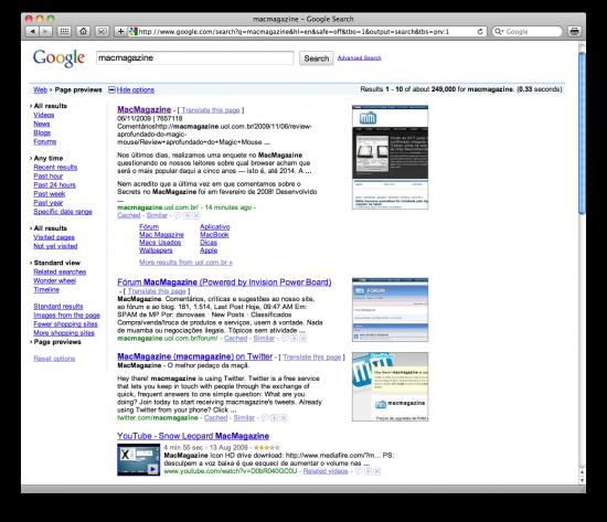 Previews de sites na Google Search Options