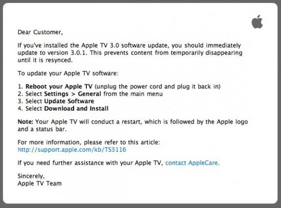 Alerta de Update do Software Apple TV 3.0