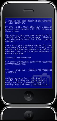 iPhone com tela azul da morte do Windows