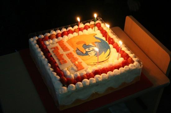 Bolo de aniversário de cinco anos do Firefox