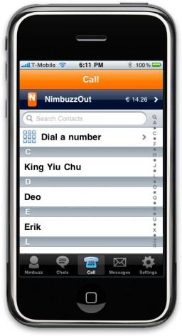 NimbuzzOut no iPhone
