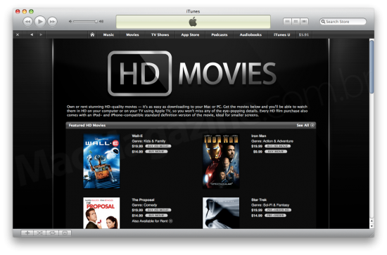 HD Movies na iTunes Store