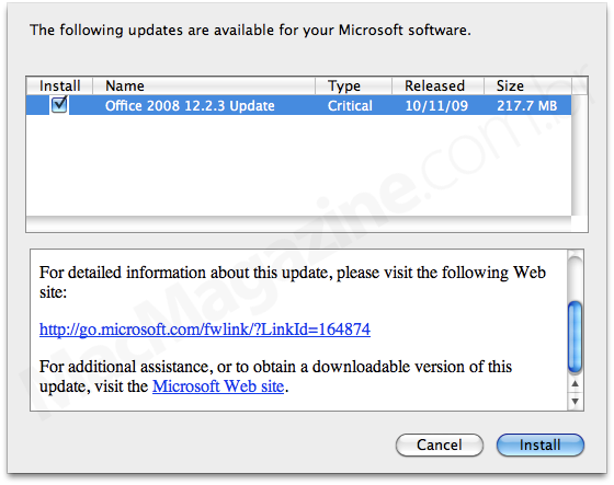 Office for Mac 2008 Update