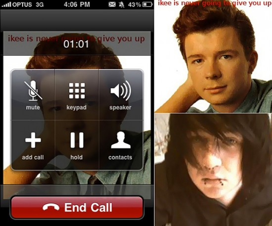 Worm para iPhone e Rick Astley