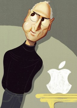 Caricatura de Steve Jobs com maçã mordida