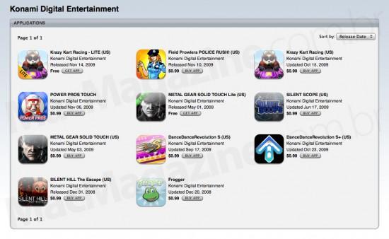 Konami em promoção na App Store