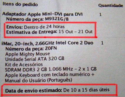 Previsões de entrega da Apple Online Store Brasil