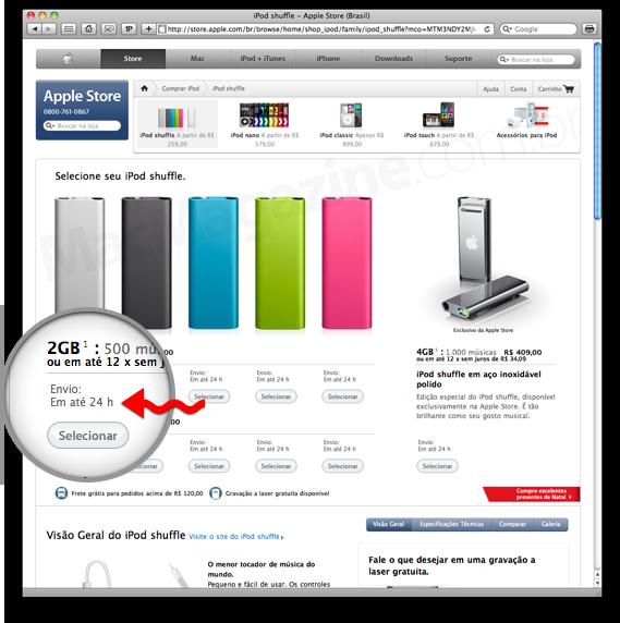 Prazo de envio da Apple Online Store