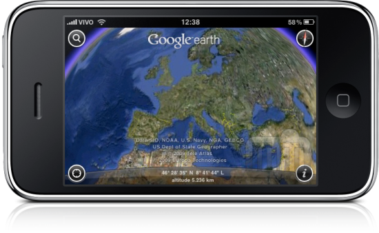 iPhone com Google Earth na Europa