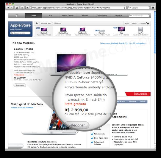 Prazo de envio da Apple Online Store Brasil