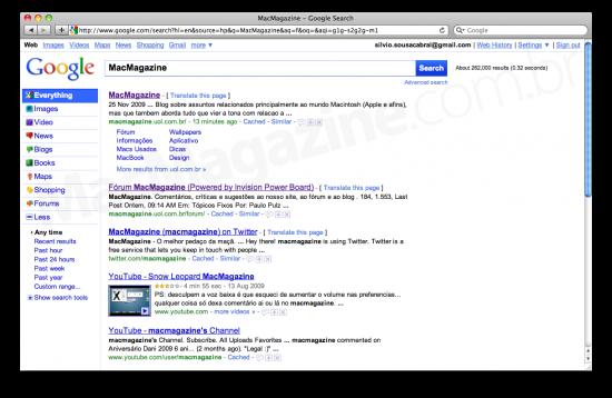 Novo visual do Google em testes