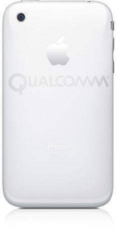 iPhone 3GS com logo da Qualcomm