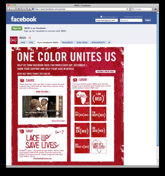 Facebook RED contra a AIDS