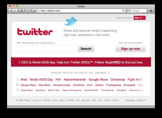 Twitter vermelho contra a AIDS