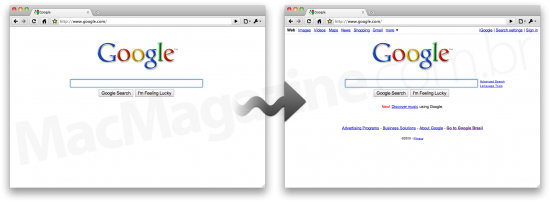 Homepage minimalista do Google