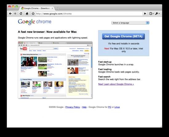 Google Chrome Beta para Mac OS X