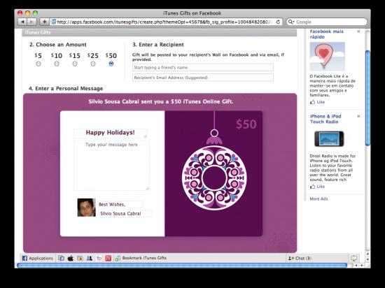iTunes Gifts no Facebook