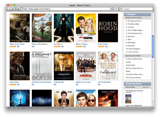 Site de Trailers de filmes da Apple