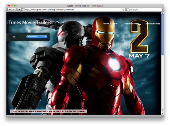 Iron Man 2 no site da Apple