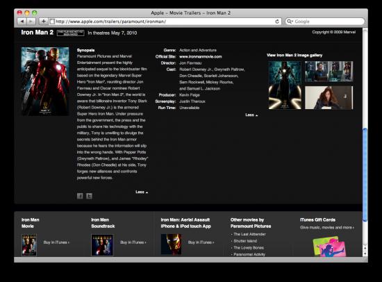 Iron Man 2 no site da Apple