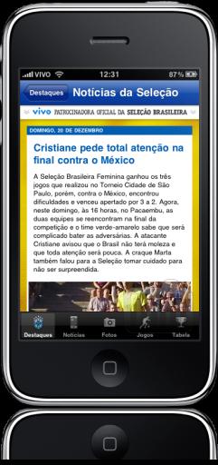 Seleção no iPhone