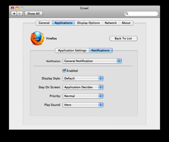 Configurações de aplicativos do Growl