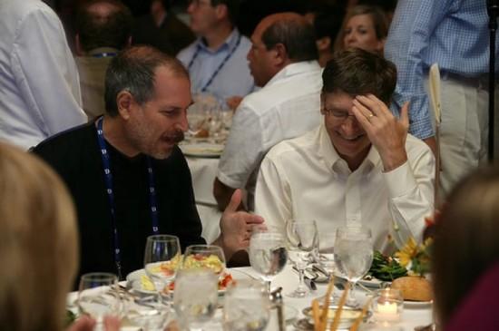 Steve Jobs e Bill Gates em jantar