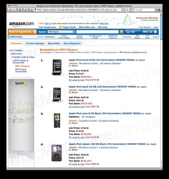 MP3 players mais vendidos na Amazon.com