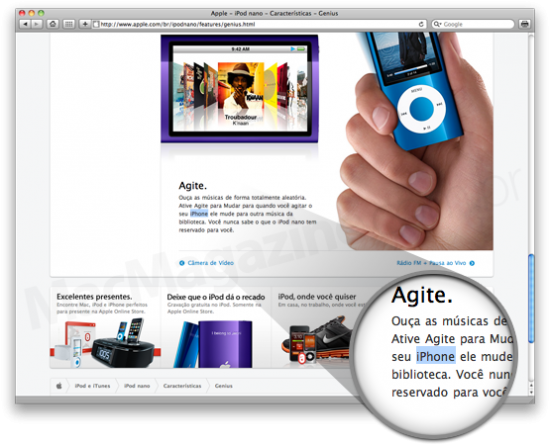 Apple Brasil FAIL - iPod nano vs. iPhone