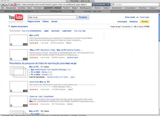 Safari FAIL interface bugada