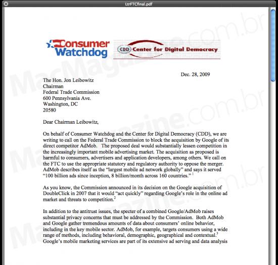 Carta de oposição à compra da AdMob pelo Google