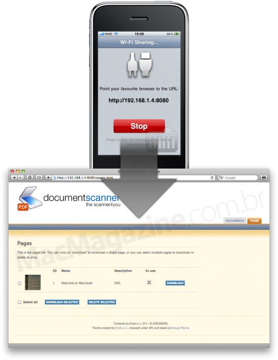 DocumentScanner no iPhone conectado via Wi-Fi ao Mac (Safari)