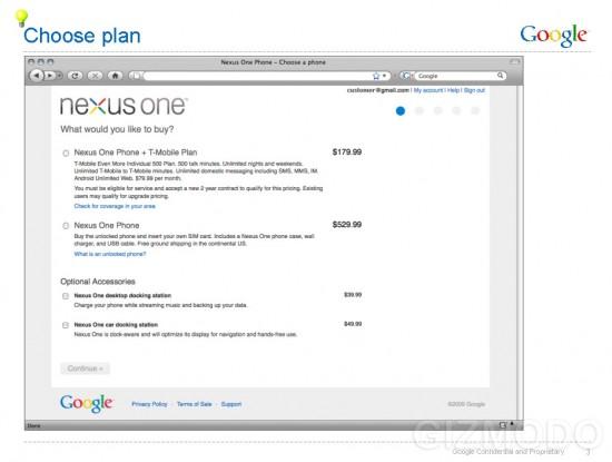 Página do Nexus One no Google