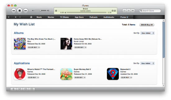 iTunes Store - Wish List