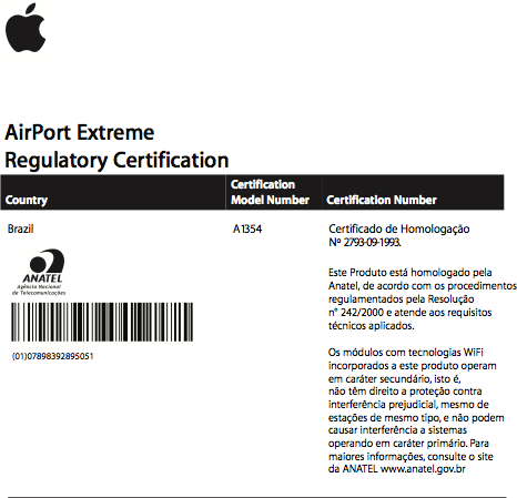 Homologação Anatel: AirPort Extreme