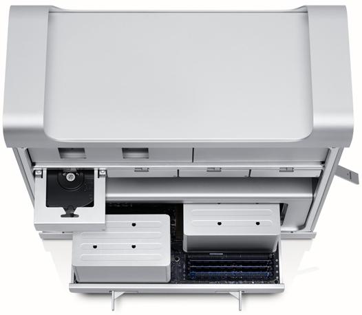 Mac Pro aberto, visto de cima