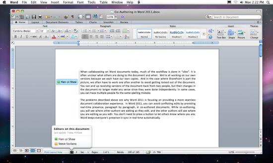 Colaboração no Microsoft Word 2011 para Mac